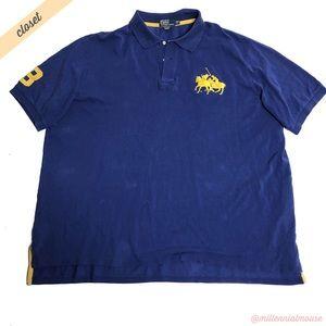 [Polo Ralph Lauren] Men's Blue Big Pony Polo Shirt
